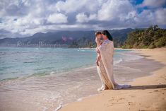 Mother and child, Hawaii beach, reclaimed lace dress