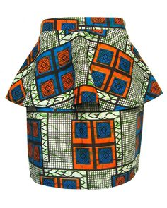fair + trade african-print peplum skirt fashion conscience ~Latest African Fashion, African Prints, African fashion styles, African clothing, Nigerian style, Ghanaian fashion, African women dresses, African Bags, African shoes, Nigerian fashion, Ankara, Kitenge, Aso okè, Kenté, brocade. ~DK