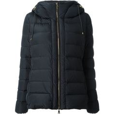 Moncler 'Idrial' padded jacket featuring polyvore, women's fashion, clothing, outerwear, jackets, blue, blue jackets, padded jacket, hooded drawstring jacket, moncler and straight jacket