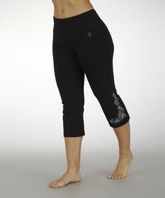 Loving this Marika Black & Metallic-Embroidered Capri Pants on #zulily! #zulilyfinds