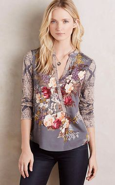 Anthropologie EU Fabienne Wrap Blouse by Tiny. Tiny was founded by LA-based… Convertible Clothing, Blouse Outfit, Wrap Blouse, Floral Tops, Floral Blouse, Floral Prints, Boho Chic, Style Me, Anthropologie