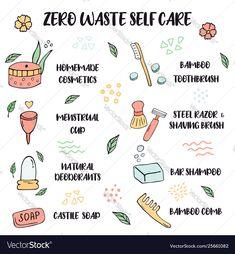 Zero waste lifestyle tips for self care vector image on VectorStock Pre Paid, Shaving Brush, Castile Soap, Third Way, Shampoo Bar, Business Names, Zero Waste, Self Care, Adobe Illustrator