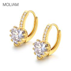 MOLIAM Korean Fashion Lady's Hoop Earings Gold Plated AAA Zirconia Crystal Huggie Earring for Women Accessories E004
