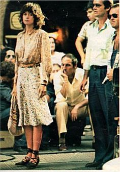 Maria Schneider in The Passenger (1975) -- I think the top  skirt are Cacharel --love the mix of florals and the lace-up espadrilles. Great summer look!