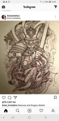 Japanese Back Tattoo, Japanese Dragon Tattoos, Japanese Tattoo Designs, Japanese Sleeve Tattoos, Japanese Art, Samurai Back Tattoo, Samurai Warrior Tattoo, Warrior Tattoos, Samurai Artwork