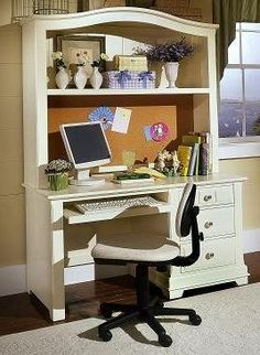 Desk/Hutch W/ Bulletin Board   I Could Do This W/ My Old One! Just Needs A  Little Spray Paint And Cork Board .