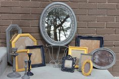 Vintage Home Decor Collection - Classic Gray - Yellow - Purple Frame Grouping - Oval Mirror - Wall Shelf - Brass Candlesticks - Shabby Chic. $125.00, via Etsy.