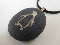 Penguin Necklace  Engraved Pendant  Penguin Jewelry