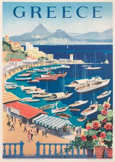 Vintage travel poster of Greece designed by G. Vakirtzis, 1955 Kastella Vintage travel poster of Greece designed by G. Old Posters, Greece Design, Travel Ads, Travel Tourism, Travel Agency, Travel Photos, Tourism Poster, Travel Illustration, Vintage Travel Posters