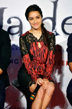 Shraddha Kapoor looked pretty as a Daisy in a bodycon dress and tied hair at the trailer launch of 'Haider'.