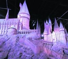 Hogwarts Castle at Harry Potter Studio: New tourist attraction near London, England, village of Leaves-den. 86 artists created the castle, hand-carved all stone turrets and clock towers.