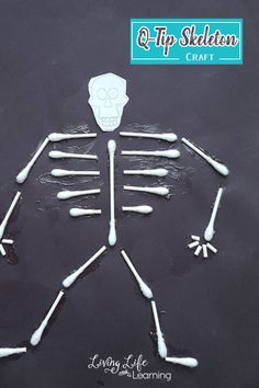 Skeleton Craft for Kids Learn about the human body's skeletal system and make it come alive with this cotton swab skeleton craft for kids, a fun way to learn about bones. Body Preschool, Preschool Science, Science For Kids, Science Activities, Activities For Kids, Biology For Kids, Nutrition Activities, Science Fun, Skeletal System Activities