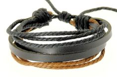 ADULT GIFTS: Neptune Giftware Mens Black Leather Double Strap & Black & Brown Coloured Cords Leather Bracele