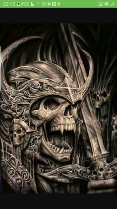 Viking warrior skull tattoo