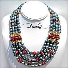 Multi Strand Pearl & Carved Ruby Necklace by Bounkit