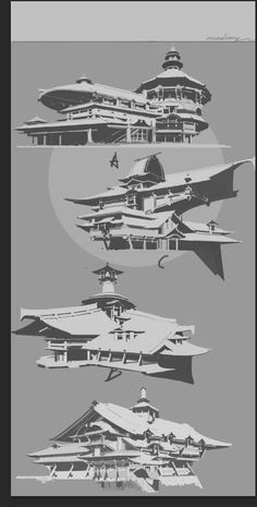QQ图片20171212150419@一朵薄小云采集到黑白稿(83图)_花瓣 Environment Painting, Environment Concept Art, Environment Design, Chinese Architecture, Concept Architecture, Futuristic Architecture, Value In Art, Building Concept, Landscape Concept