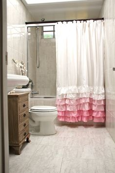 Want For Lila's Bathroom!  PINK ruffles shower curtain CUSTOM ruffle by butterflyabove,