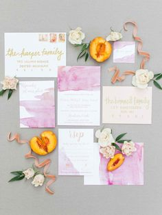 Peach-inspired, watercolor wedding invitation suite -  Summer Splendor: A Whimsical Garden Wedding at Henderson Castle | WeddingDay Magazine