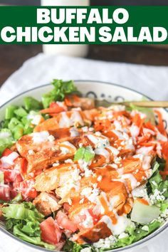 This easy Buffalo Chicken Salad is done in less than 15 minutes and so delicious! Full of fresh ingredients, spicy buffalo sauce, and creamy ranch, this will be a favorite lunch or dinner recipe! Chicken Lettuce Wraps, Chicken Dips, Chicken Salad, Easy Salads To Make, How To Make Salad, Buffalo Chicken Sandwiches, Chicken Quesadillas, Buffalo Recipe, Homemade Buffalo Sauce