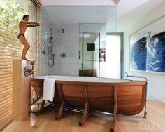 Wonderful Bathroom Design with Unique Bathtub. Charming Vintage Bathroom Design Ideas and Wonderful Bathroom Design with Unique Bathtub. Unusual bathtub design like a ship. Unusual Bathrooms, Contemporary Bathrooms, Beautiful Bathrooms, Glamorous Bathroom, Creation Deco, Coastal Decor, Coastal Style, Elle Decor, My Dream Home