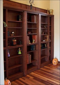 A Passageway is Transformed by a Concealed Cherry Bookcase Doorway   http://www.hiddenpassages.com/images/gallery/11.jpg#