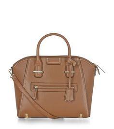 Tan Contrast Stitch Tote Bag