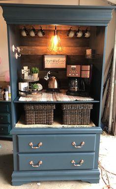 Coffee Nook, Coffee Bar Home, Coffee Bar Design, Coffee Bar Ideas, Coffee Bars, Coffee Maker, Coffee Machine, Refurbished Furniture, Repurposed Furniture