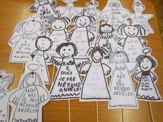 vypůjčila jsem si úžasný nápad od Lidunky,   která mě inspirovala svými anděly..   A tak jsme jich ve škole udělali moc..   Dostali je vš... Advent Calendar, Holiday Decor, Crafts, Winter Craft, Art, Kid, Christmas, Manualidades, Advent Calenders