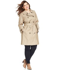f6cf6decf05 London Fog Plus Size Belted Double-Breasted Trench Coat Women - Coats -  Macy s