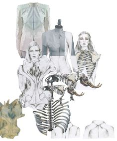 Fashion Portfolio layout - tailoring inspired by skeletal structures - fashion design mood board; fashion illustration; fashion sketchbook // Haidee de Fraine