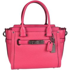 Coach Swagger 21 Tote ($240) ❤ liked on Polyvore featuring bags, handbags, tote bags, fucsia, handbags tote bags, coach tote, pink tote purse, tote purses and coach purses