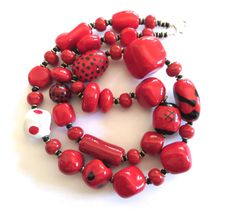 Kazuri+Bead+Necklace+Ceramic+Necklace+Fair+by+lizbriggsdesigns