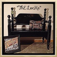Repurposed HeadboardThE GeorGian by ThELocKe on Etsy, $185.00 Country Bench, Black Bench, Cottage Chic, Outdoor Furniture, Outdoor Decor, Georgian, Repurposed, Create, Etsy