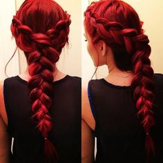 Red Braided Hair ❤ liked on Polyvore featuring beauty products, haircare, hair styling tools, hair, hairstyles, beauty, hair styles and red