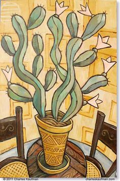 """Cactus on a Table"" by Charles Kaufman. Limited edition of 49 prints. 60 x 90 cm / 23.6 x 35.4 inches (Same size as the original painting.) Giclée Print on Canvas. €340.00 https://www.back-wall-art.com/shop/index.php?id_product=108&controller=product&id_lang=1 #cactus #southwest #art #green #plant"