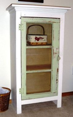 Old Window & White Washed Wood Cabinet: I designed this cabinet, my husband built it and I painted it.