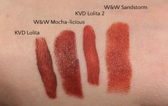 Swatches of Wet n Wild Megalast in Mocha-licious and Sandstorm against Kat Von D Lolita and Lolita 2 from the minis duo set