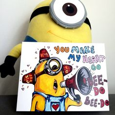 A personal favorite from my Etsy shop https://www.etsy.com/ca/listing/241167030/uniquely-hand-drawn-fireman-minion-love