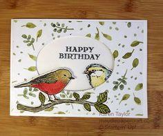 Stampin' Up! Best Birds window card with Birds & Blooms thinlits