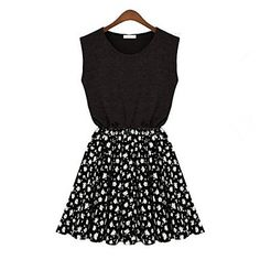 Women's Summer Casual Shivering Waisted Sleeveless Dress - USD $ 20.99