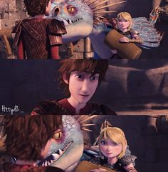 """Astrid: """"I figured Stormfly and I would bed down here."""" Hiccup: """"Oh, uh, what a coincidence. Toothless and I were going to stay here too."""""""