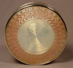Antique Pink & Ivory Enamel Silver Gilt Compact