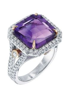 The Devotion collection of Fabergé jewellery is designed to celebrate special events and milestones with vibrantly colourful pieces such as this ring set with a 6.55ct amethyst, and white round diamonds in white and rose gold.