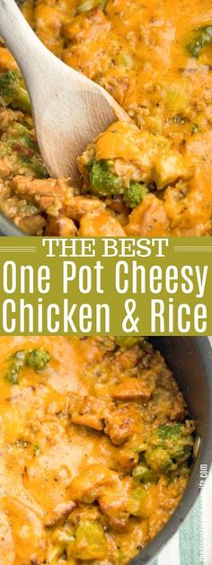 One Pot Cheesy Chicken and Rice #chicken #chickenrecipe #chickenandrice Chicken And Rice Crockpot, Chicken And Rice Dishes, Chicken Broccoli Rice Casserole, Baked Chicken Recipes, Chicken Rice, Turkey Recipes, Chicken Meals, Meatball Recipes, Side Dish Recipes