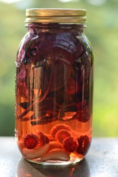 Food Preservation Week Post #3: Raspberry-Garlic-Purple Basil Vinegar