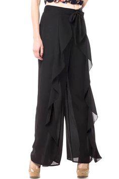 deb25d142b89 Black Overlay Front Tie Pants