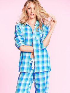 The Dreamer Flannel Pajama, Bright Blue Obre Metallic Plaid, Size XL, Victoria's Secret, $39.50.