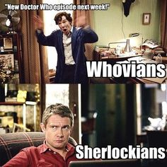 Confession time: I got into Doctor Who after watching Sherlock all the way through three times. Without Doctor Who to tide me over, I would be as lost as John without Sherlock. Fandoms Unite, Virginia Woolf, Johnlock, Sherlock Bbc, Sherlock Fandom, Serie Doctor, Supernatural, Doctor Who Episodes, New Doctor Who