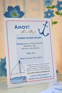Nautical Theme Sailboat Baby Shower Invitation