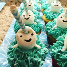 Narwhal cupcakes -- perfect for a Polar party! Vanilla bean cupcakes with vanilla bean frosting. Made with marshmallows, paper straws, and a food writer pen. Birthday Party For Teens, 11th Birthday, Birthday Ideas, Mermaid Birthday, Birthday Cupcakes, Unicorn Party, Birthday Decorations, First Birthdays, Party Time